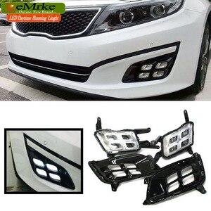 Image 1 - EEMRKE Car LED DRL For Kia Optima K5 TF 2014 2015 Xenon White Day Light Fog Cover Daytime Running Lights Fog Lamp Assembly
