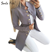 Office Women Long Coat Overall Fashion Single Breasted Winter Slim Jacket Solid