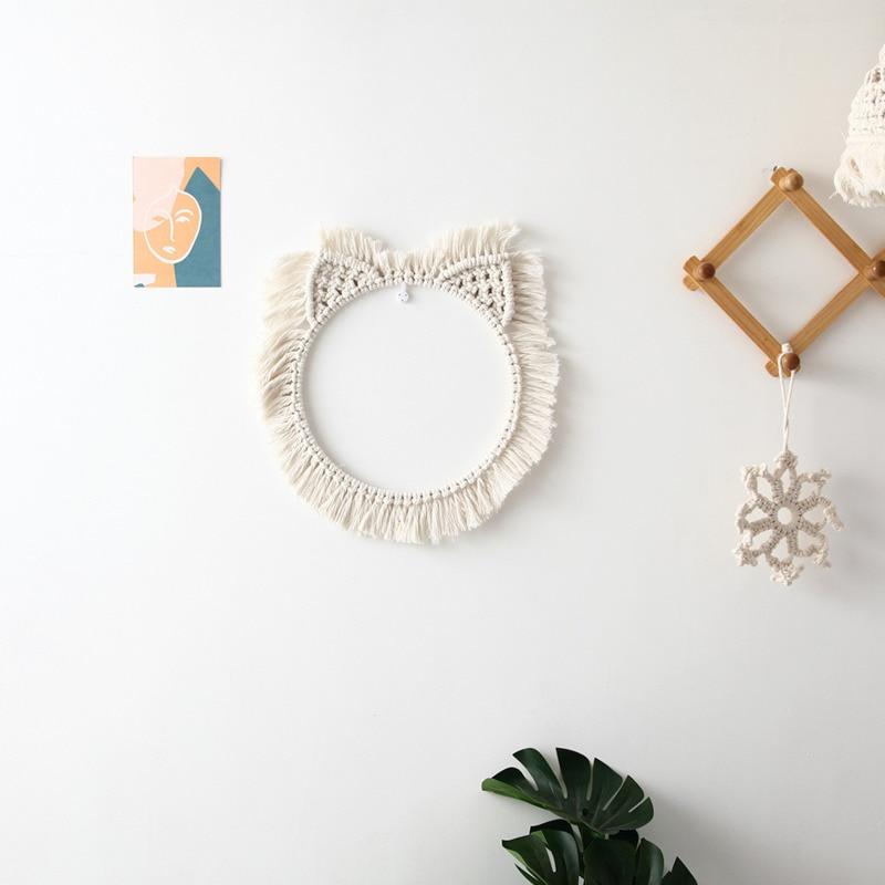 Круглая полая гобелен из макраме в скандинавском стиле домашний декоративный тканый богемный гобелен на стену Солнце Луна художественные ...