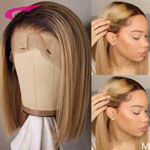 Image 1 - Short Bob Season Short Bob Wigs Brazilian Remy Hair Meddle Ratio1b 27 4x4 Closure wig and 13X6 Frontal Carina Human Hair Wigs