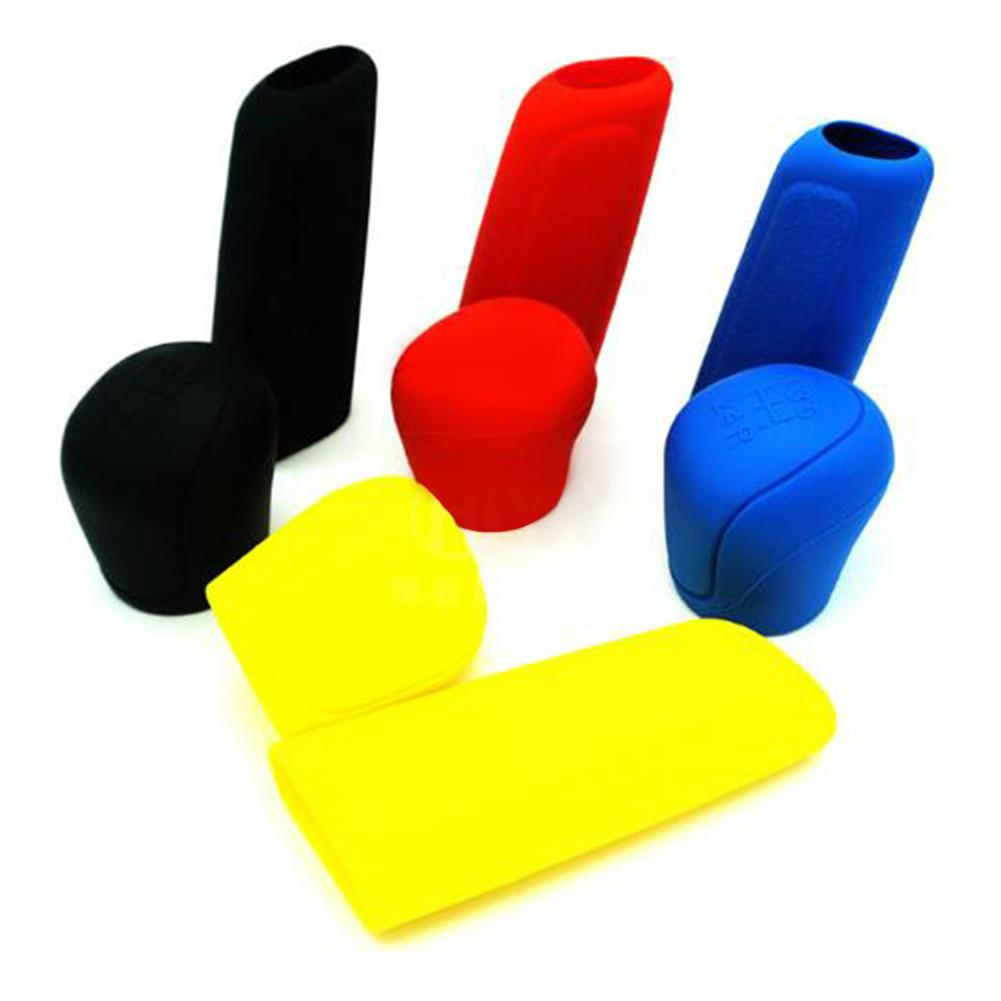 Dragonpad Gear Knob Cover Car Silicone Gel Head Shift Glove Gear Shift Collars + Handbrake Sleeve