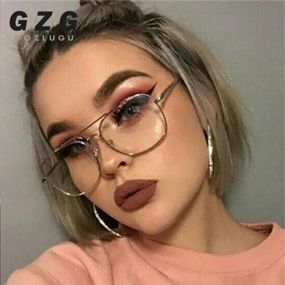 Vintage Gold Metal Frame Eyeglasses Mens Womens Sun Glasses Retro Square Optical Lens Eyewear Nerd Clear Lens Glasses GOZLUGU