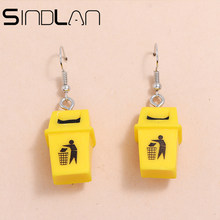 Sindlan 1 çift komik sarı çöp kutusu-can damla küpe kadınlar için kişilik araçları çöp tenekesi genç kız kadın moda kulaklar takı
