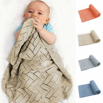 Knitted Baby Blankets Newborn Wrap Solid Stroller Bedding Quilts Toddler Swaddling Infant Soft Swaddle 100*80 CM
