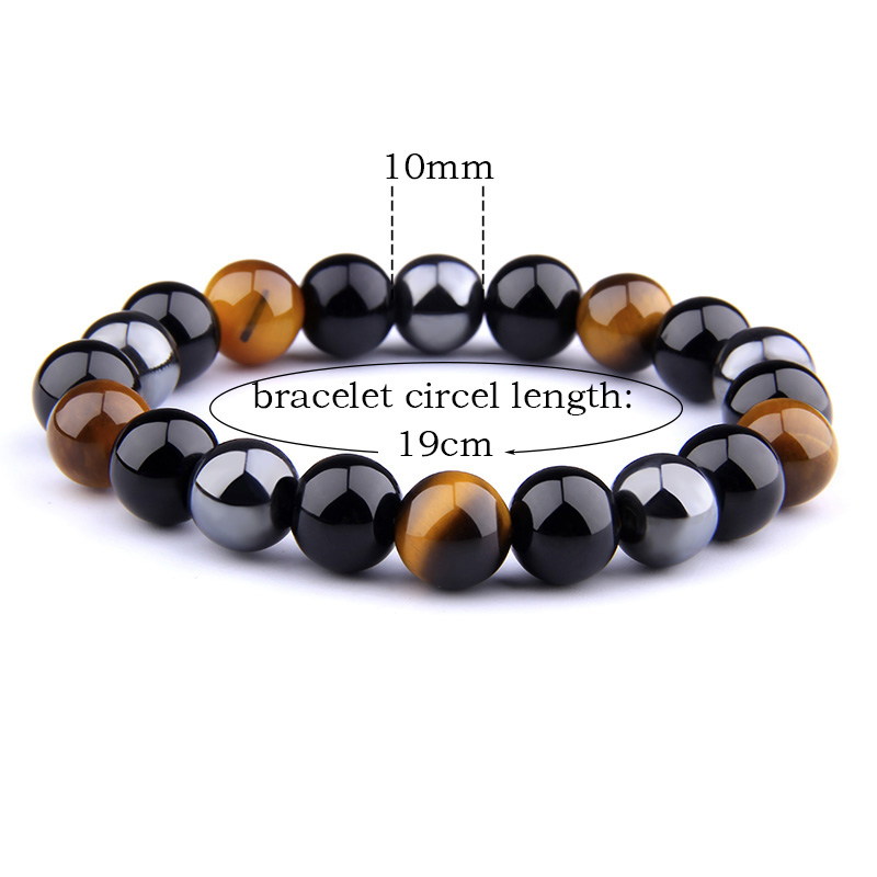 Natural Black Obsidian Hematite Tiger Eye Beads Bracelets Men for Magnetic Health Protection Women Jewelry Pulsera Hombre 2