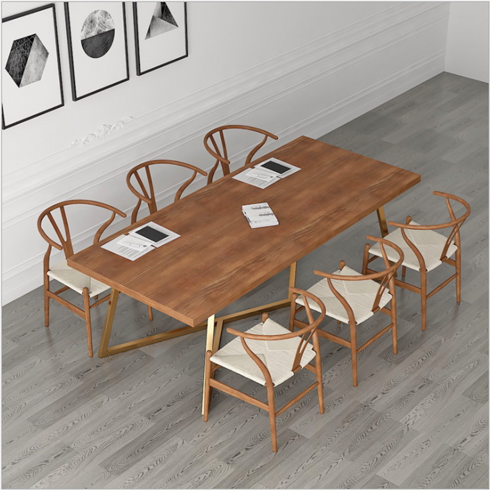 Creative Conference Table And Chair Combination Simple Modern Solid Wood Rectangular Desk Studio Staff To Discuss Conference Tab