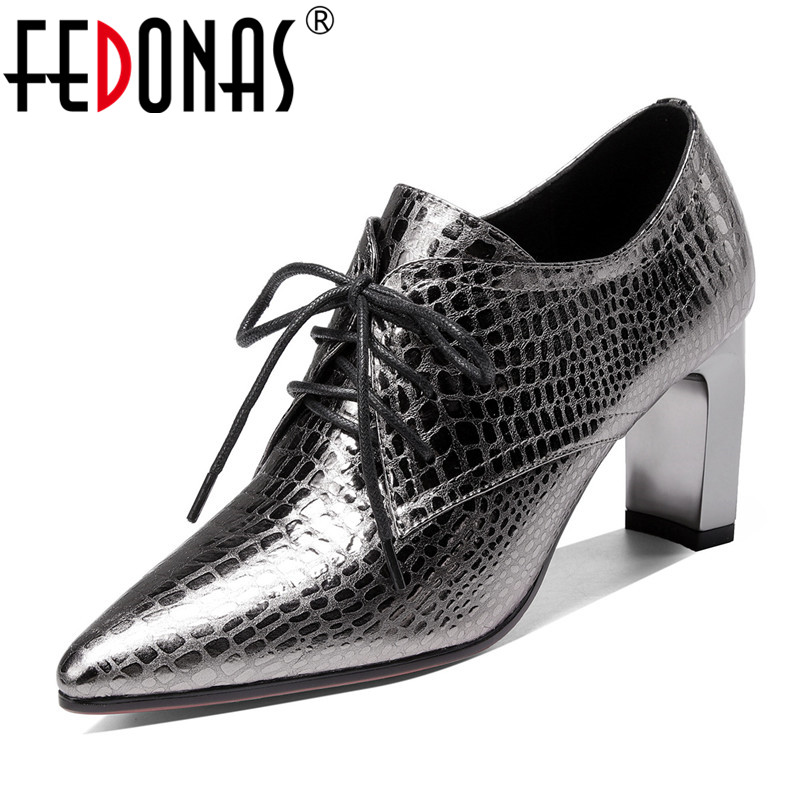 FEDONAS Cross-tied Women Quality Genuine Leather Pumps Basic Pointed Toe High Heeled Office Shoes Woman New Spring Autumn Shoes