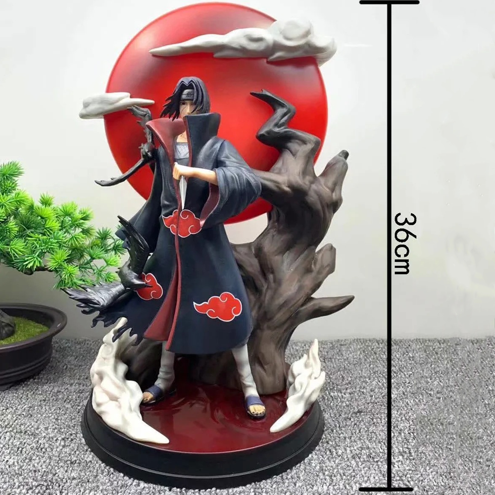 Anime Figuren Naruto Uchiha Itachi Pvc Model Scene Led Shippuden Itachi Kisame Sasuke Action Figurine Model Speelgoed Pop Naruto 36cm