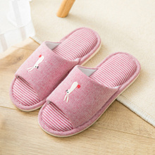 Natural Flax Home Slippers Women Indoor Floor Shoes Female Silent Sweat Slippers For Women Sandals Cotton Slides Slippers 36-44
