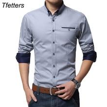 TFETTERS הכי חדש כותנה גברים חולצה מקרית חולצה ארוך שרוול מוצק צבע רגיל Fit בתוספת גודל גברים של חולצות