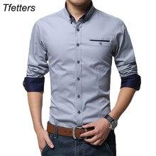 Tfetters Nieuwste Katoen Mannen Casual Shirt Lange Mouw Effen Kleur Regular Fit Plus Size Mannen Shirts
