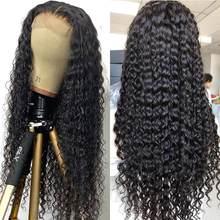 30 32 34 36 38 40 polegadas 13x4 longo frente do laço perucas de cabelo humano brasileiro onda profunda fechamento do laço perucas de cabelo humano
