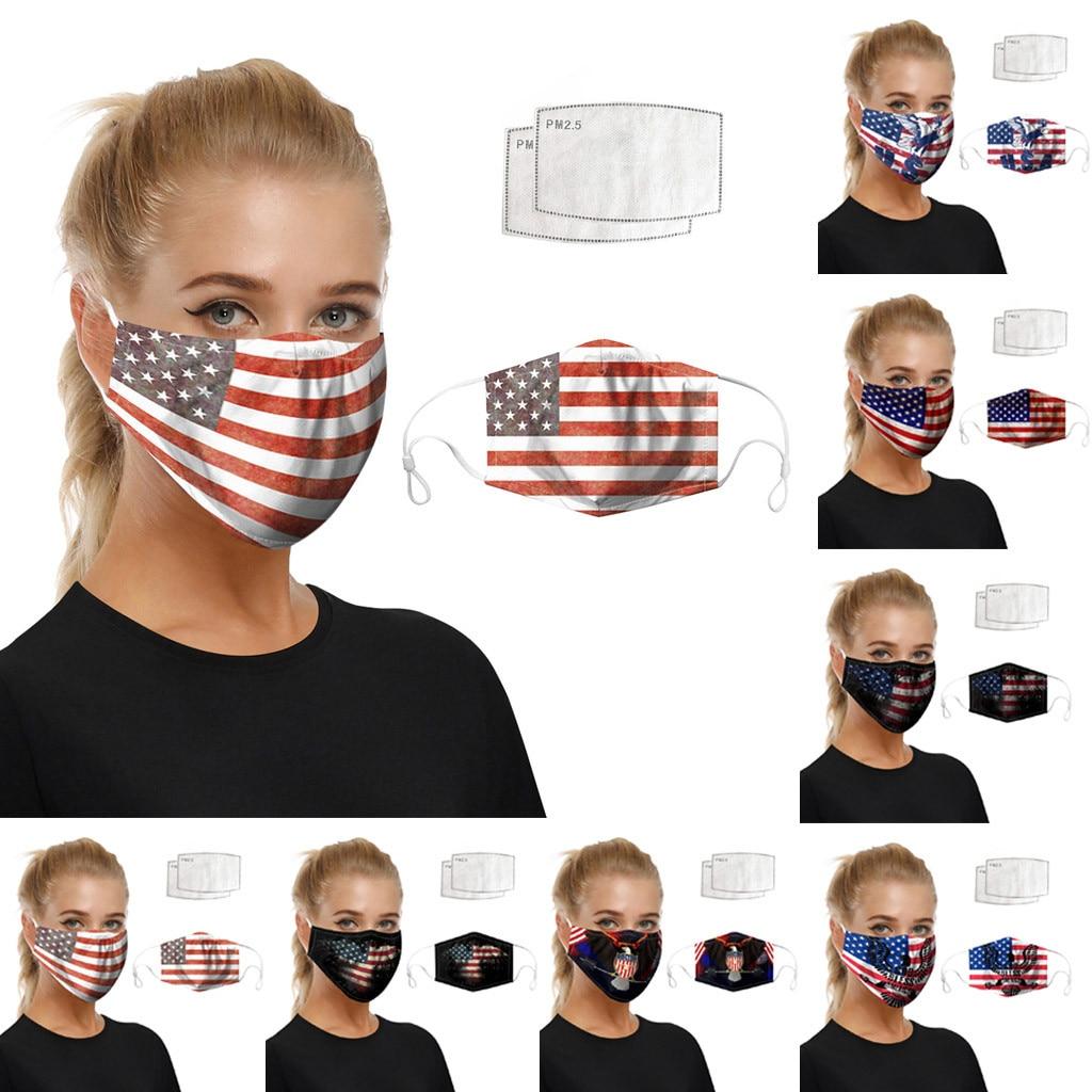 Unisex Creativity Washable Cosplay Dustproof Face Maske American Flag Print Foggy Haze Protective Face Maske Costume Accessories