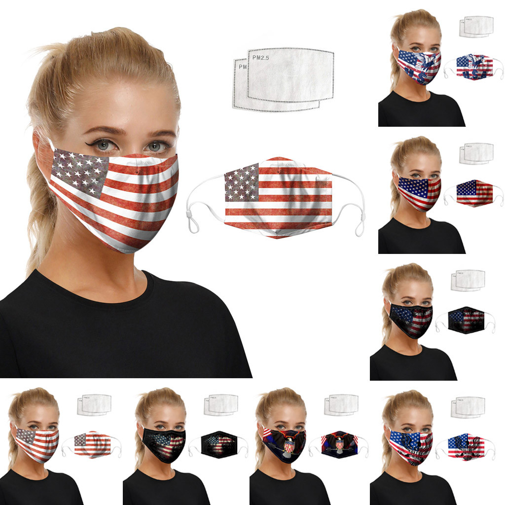 Unisex Creativity Washable Cosplay Dustproof Face Masks American Flag Print Foggy Haze Protective Face Mask Costume Accessories