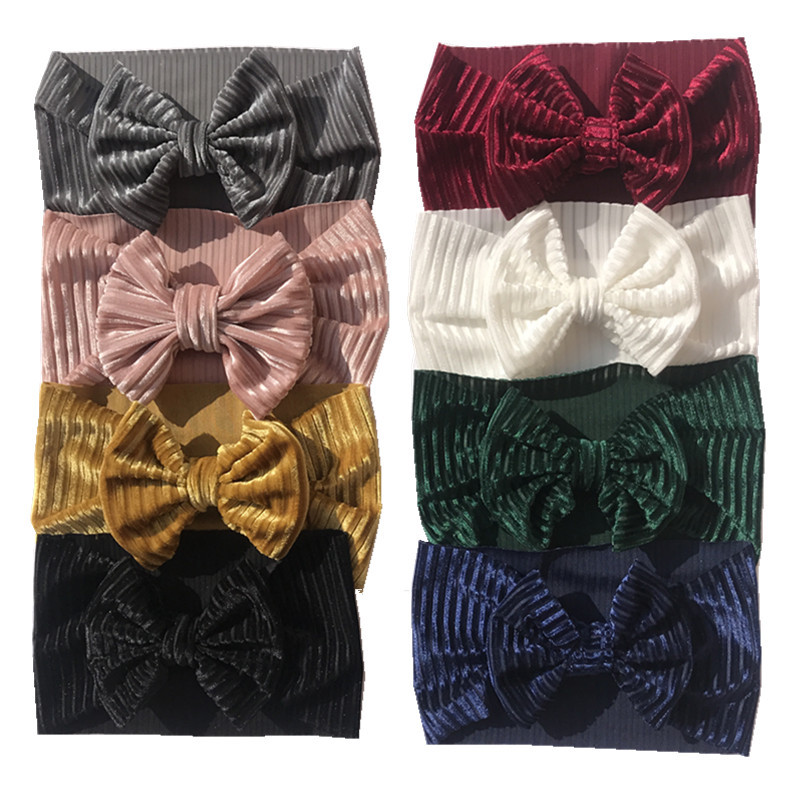 Wholesale 16pcs/lot Baby Bows Turban Hairband Velvet Baby Headband Baby Girl Headbands For Girls Baby Hair Accessories