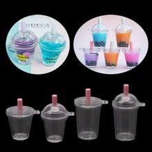 Mini taza para Frappuccino, taza de café en miniatura de plástico de simulación para pasteles y helados, llavero para fabricación de joyas DIY, 10 Uds.