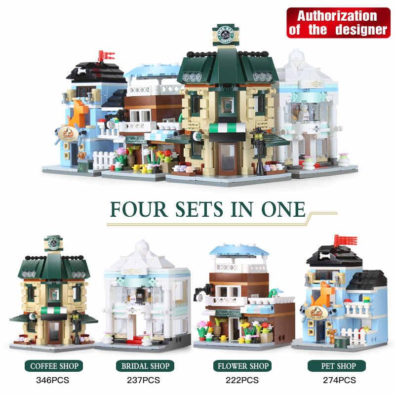 DHL 01105 chiński styl budynek budynków kawiarnia sklep ślubny kwiat sklep Pet klocki klocki zabawki dla dzieci