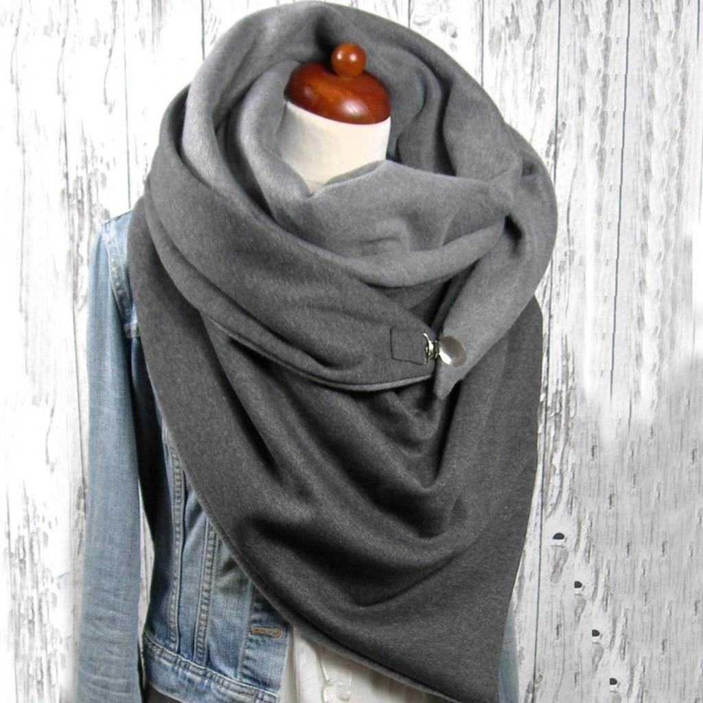 Foulard Femme 2020 Fashion Women Soild Dot Printing Button Soft   Wrap   Casual Warm   Scarves   Shawls