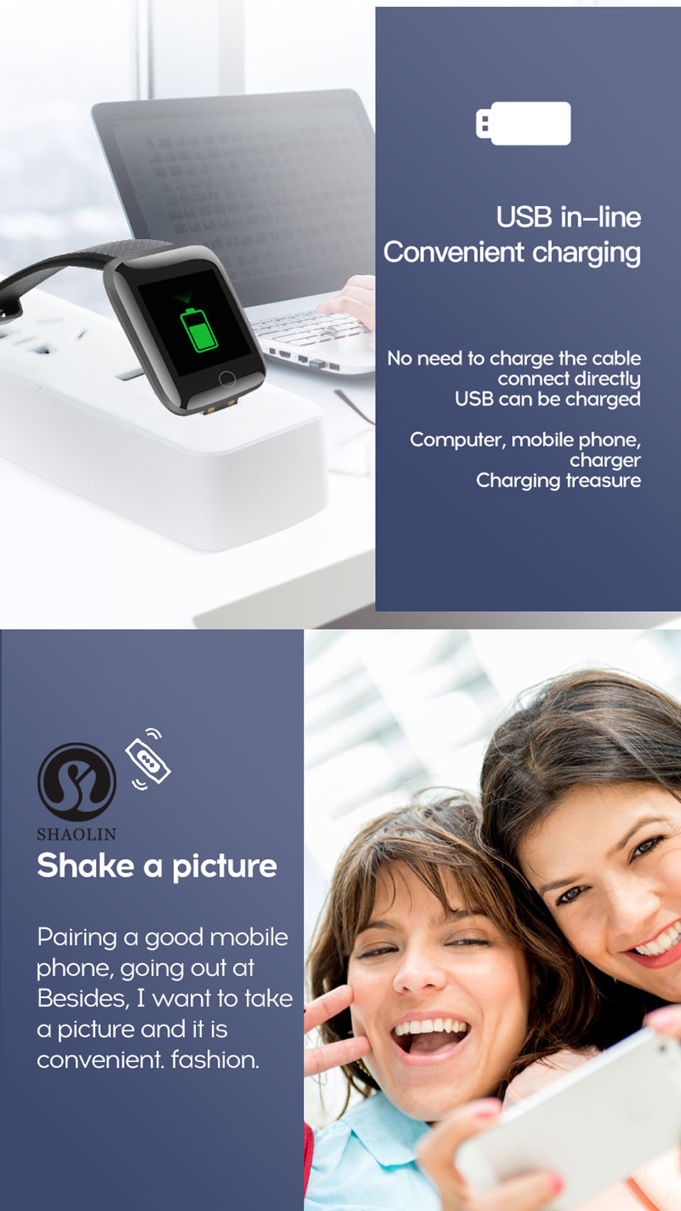 11 USB in-line Convenient Charging + Shake a picture