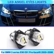 12w led anéis de auréola do carro anjo olhos lâmpadas para bmw série 3 e90 e91 pre-facelift 2005 2006 2007 2008 faróis lâmpadas