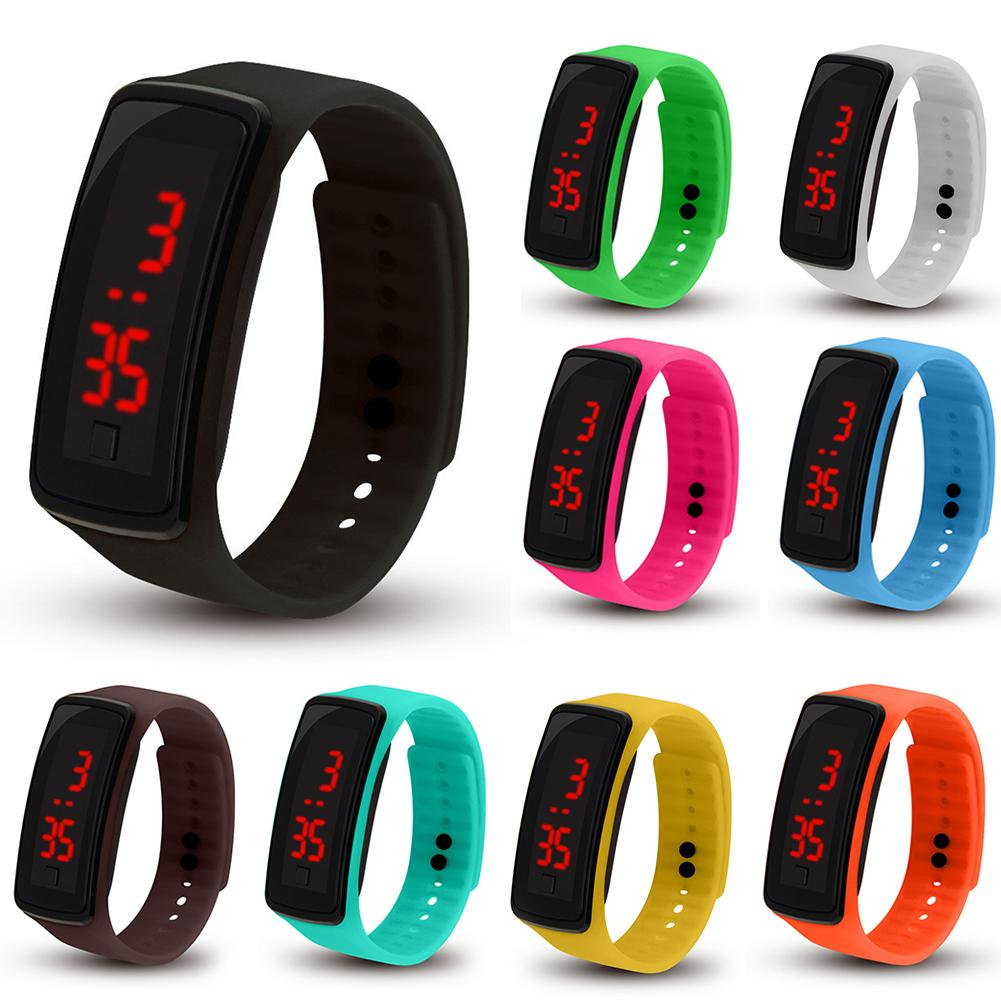 Fashion Children  Casual Sports Bracelet Watches White LED Electronic Digital Candy Color Silicone Wrist Watch For Children Kids