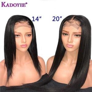 Image 3 - Perruque brésilienne longue courte Bob droite dentelle avant perruques de cheveux humains partie du milieu pré plumé noeuds blanchis Remy perruque de cheveux pour les femmes