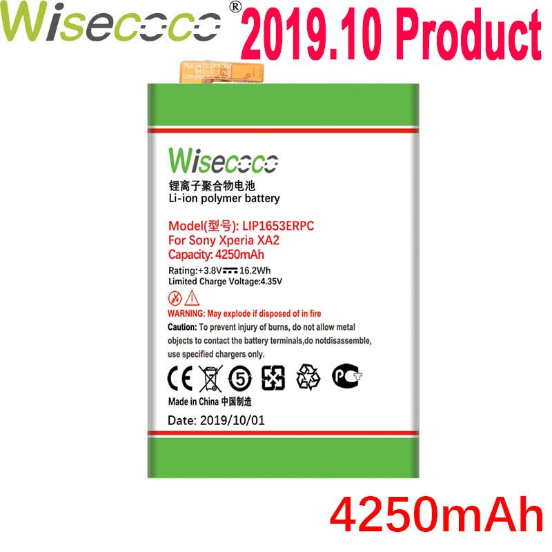 WISECOCO 4250mAh LIP1653ERPC <font><b>Battery</b></font> For SONY <font><b>Xperia</b></font> <font><b>XA2</b></font> Ultra G3421 G3412 XA1 Plus Dual H4213 Mobile Phone With Tracking Number image
