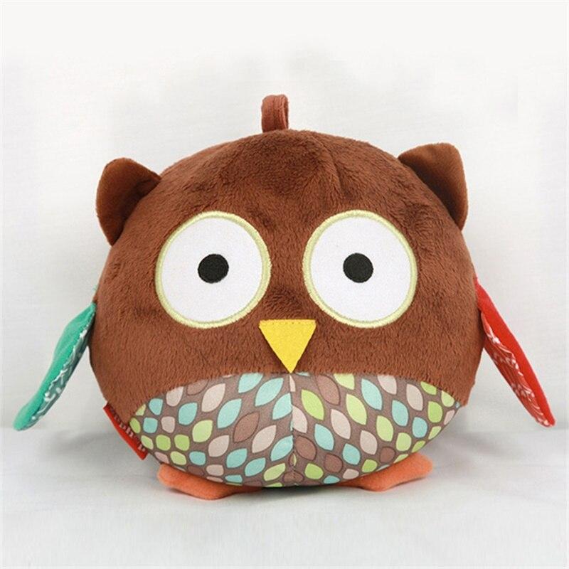 Sevimli yumuşak baykuş peluş oyuncaklar ses ile rüzgar çanları kolye yatıştırıcı bebek oyuncakları doldurulmuş hayvanlar yenidoğan eğitici oyuncaklar