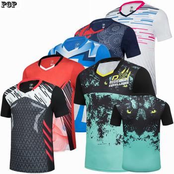 Krótki rękaw badminton tenis nosić koszulki mężczyźni i kobiety koszulki szybkoschnący mężczyźni tenis stołowy koszulki sportowe koszulki treningowe tanie i dobre opinie TANANSTY Poliester spandex Anty-pilling Anti-shrink Przeciwzmarszczkowy Oddychająca Sprężone El miga Szybkie suche Odwracalne