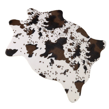 Sholisa Faux Cowhide Cow Hide Floor Mats Handmade Simulation Animal Skin Leather Area Rug Carpert Pelt Cow Hide for Living Room faux turquoise cow engraved jewelry set