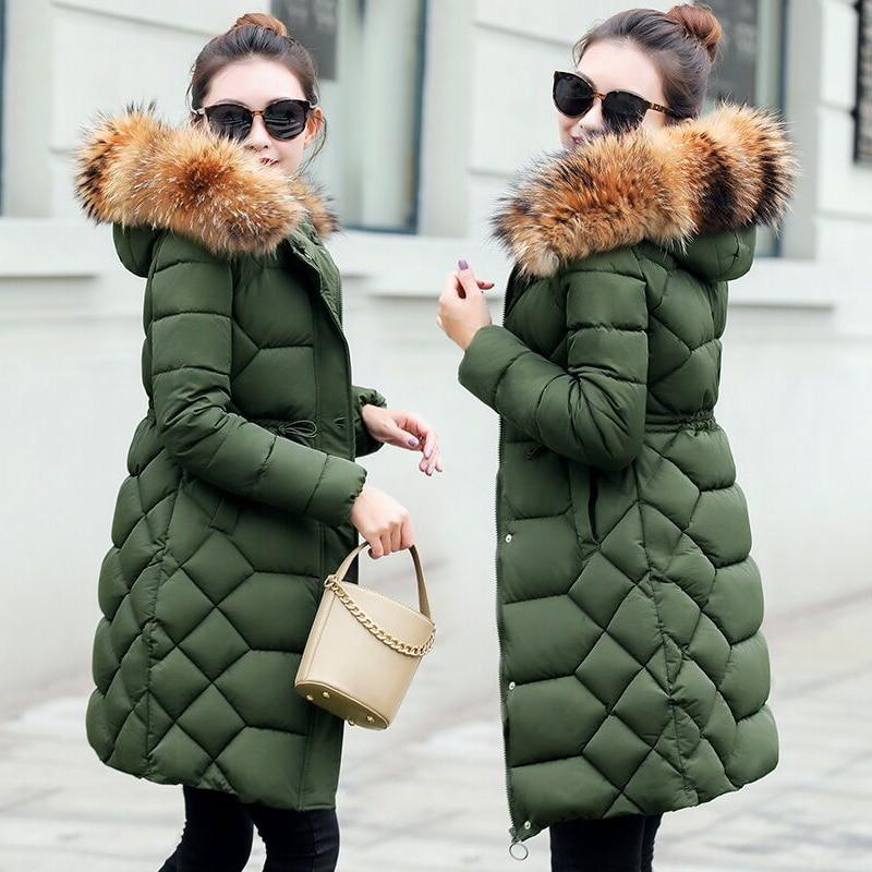 Natural Collar de piel de mapache 2019 chaqueta de invierno abrigo de invierno grueso largo Parkas mujer chaqueta de invierno mujer abrigo-in Parkas from Ropa de mujer    1