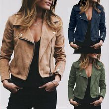 Plus Size Womens Ladies Suede Leather Jacket Flight Coat Zip Up Biker Tops