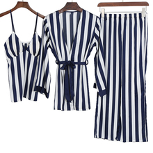 3 Pieces Pajamas set for women sexy sleepwear Striped Pajama Dress Nightwear Satin Silk Spring Summer Indoor 2PC 7PC Set