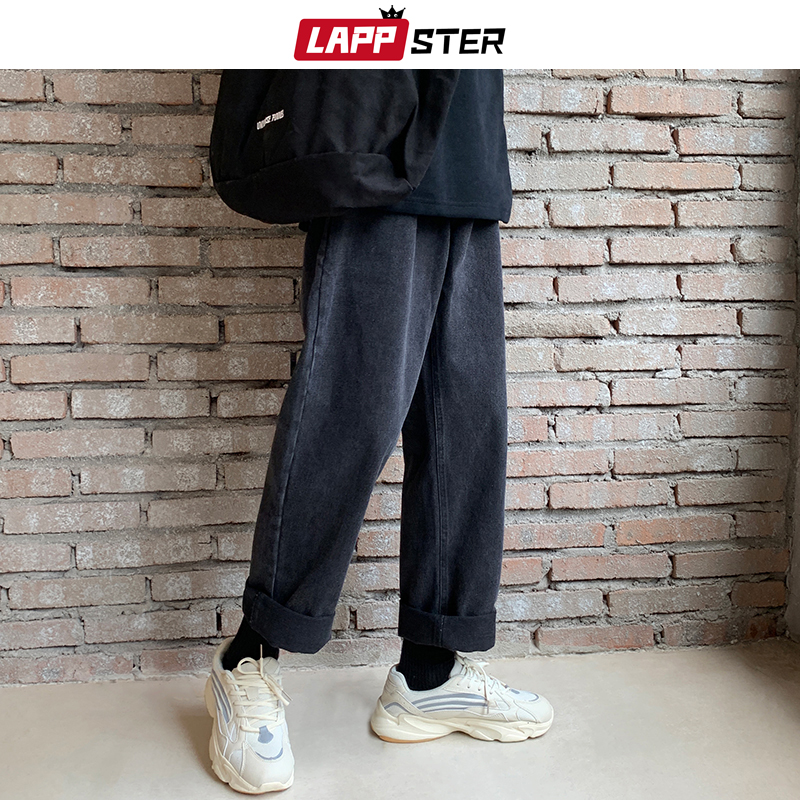 LAPPSTER Men Streetwear Black Jeans Pants 2020 Mens Fashions Hip Hop Denim Jeans Harem Pants Korean Fashions Harajuku Trousers