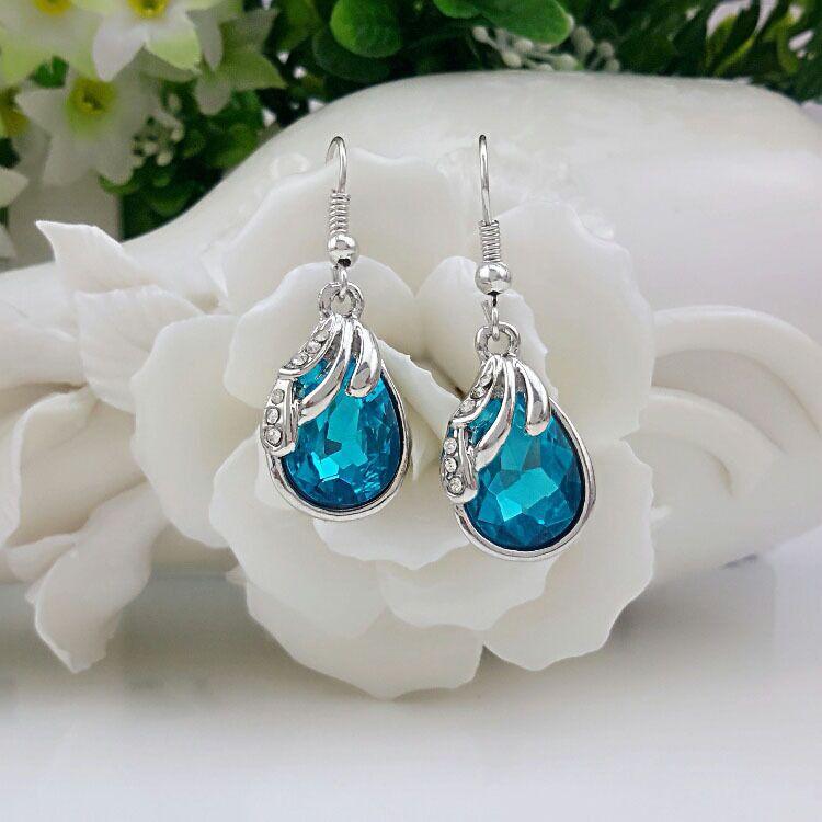 Fine ladies earrings 925 sterling silver, blue, rose red, deep purple, crystal zircon earrings ear hook bride Christmas gift