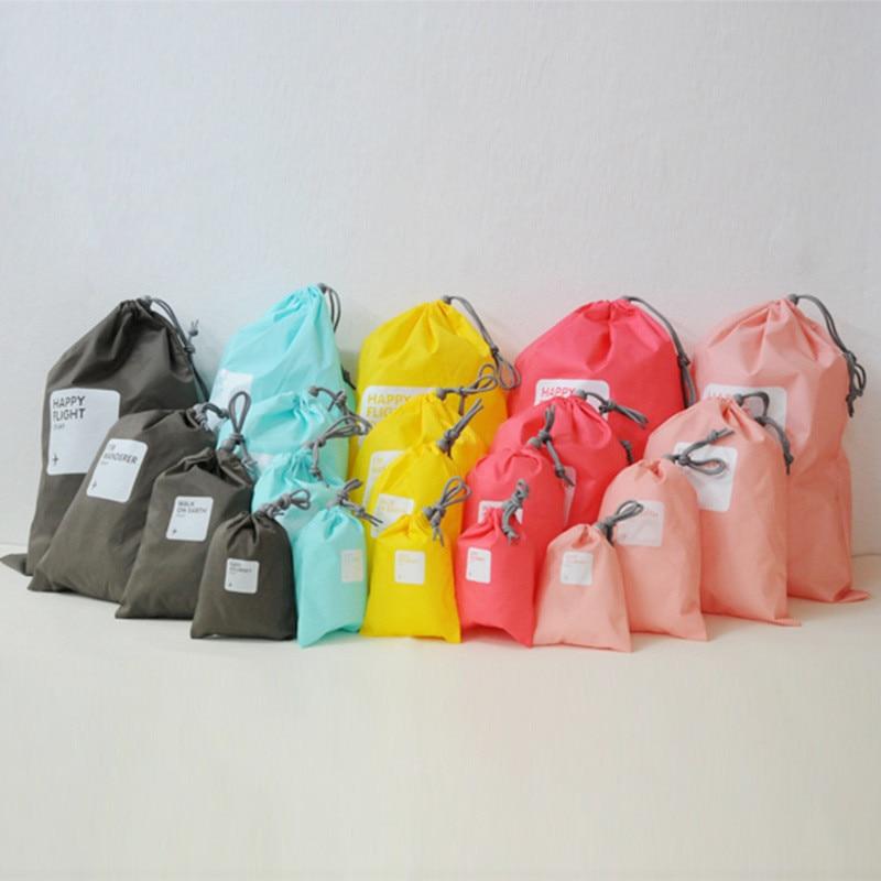 VOGVIGO 4pcs/set Simple Printed Storage Bags Traveling Clothing Waterproof Harness Finishing Pocket Drawstring Makeup Totes Bag