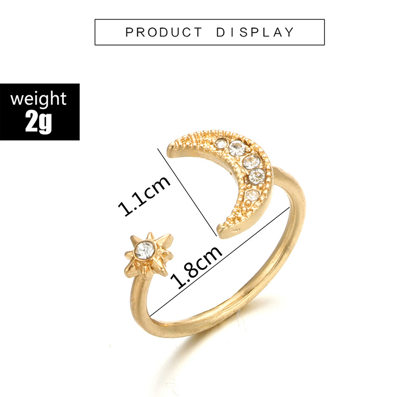 Tocona Bohemian Vintage Water Drops Star Geometric Crystal Ring Set Women Charm Joint Ring Fashion Jewelry Gift 3