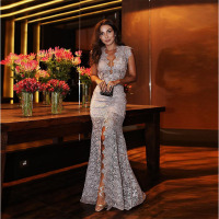 Deep V neck Sexy Evening Dress Party Formal Evening Gowns Special Occasion Dresses Formal Women gown de fiesta gray 2018 2019
