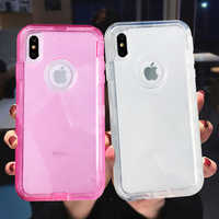 Heavy Duty Armor Clear Phone Case For iPhone XR XS Max X 6 6s 7 8 Plus PC+TPU 3 in 1 360 Shockproof Transparent Protective Cover