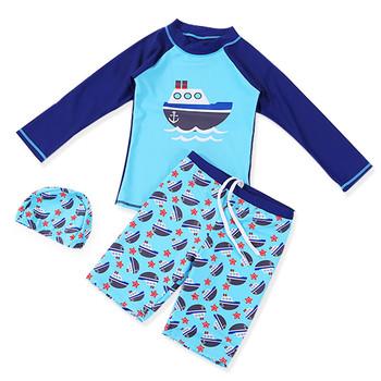 Nowy 3 sztuk stroje kąpielowe dla dzieci dla dzieci chłopiec kostium kąpielowy chłopiec strój kąpielowy dla dzieci dla dzieci wysypka straż Surfing kostium kostiumy kąpielowe chłopców ubrania zestaw strój kąpielowy tanie i dobre opinie lulukohs spandex Pasuje prawda na wymiar weź swój normalny rozmiar Cartoon Unisex Boys Swimwear Boy Swim Suit 3-14 Two Pieces