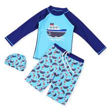 Nowy 3 sztuk stroje kąpielowe dla dzieci dla dzieci chłopiec kostium kąpielowy chłopiec strój kąpielowy dla dzieci dla dzieci wysypka straż Surfing kostium kostiumy kąpielowe chłopców ubrania zestaw strój kąpielowy tanie tanio lulukohs spandex Pasuje prawda na wymiar weź swój normalny rozmiar Cartoon Unisex Boys Swimwear Boy Swim Suit 3-14 Two Pieces