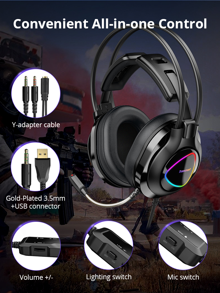 cheapest Tronsmart Glary Alpha Gaming Headphones ps4 Headsets Gamer with LED Lighting 3 5mm  USB Port for ps4 witch Computer Laptop