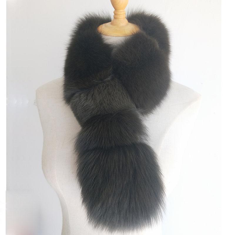 Genuíno da Pele de Raposa Cachecol de Pele de Moda Lenços das Senhoras Lenços de Peles de Luxo Feminino Inverno Quente Real Fur Cachecóis Mulheres Brancas Grossas Fox