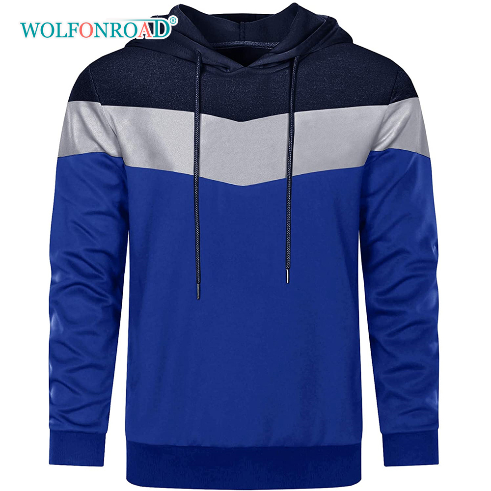 WOLFONROAD Spring/Autumn Patchwork Hooded Sweatshirt Men's Breathable Hoodies Casual Hip Pop Clothing Sports Fitness Tops Boys