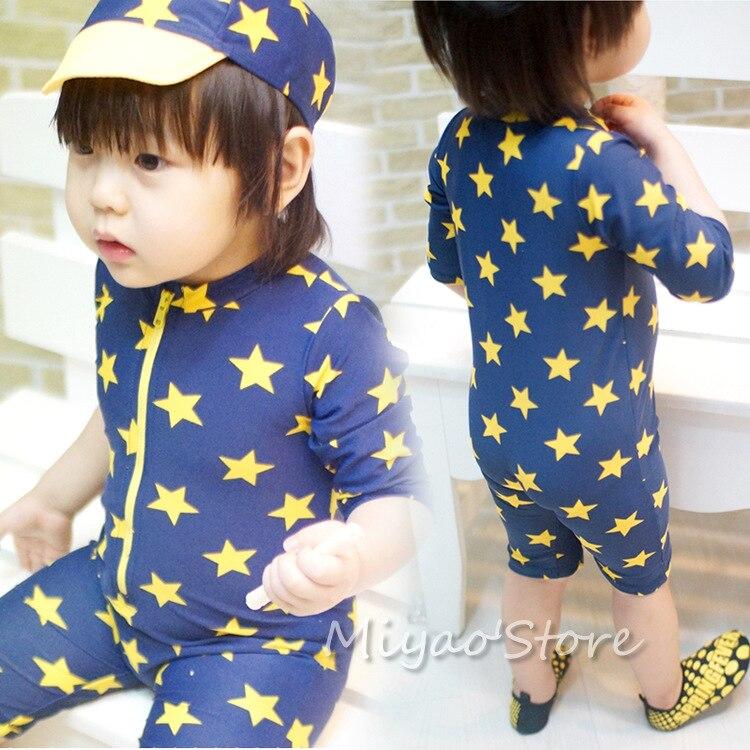Child Models Bathing Suit 3311 Blue Star One-piece Boxer Infant Baby Bathing Suit With Shower Cap BOY'S CHILDREN'S Bathing Suit
