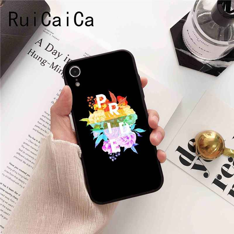 Ruicaica Gay Lesbienne LGBT Arc-En-Ciel Fierté ART Noir Soft Shell Téléphone étui pour iphone 8 7 6 6S 6plus X XS MAX 5 5S SE XR 10 Couverture