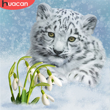 HUACAN-pintura de diamantes 5D DIY de tigre bordado de diamantes, cuadro de animales, decoración de diamantes de imitación para el hogar