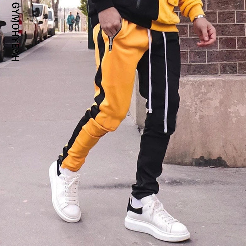 Gymohyeah 2019 Mens Long Color Block Street Patchwork Zippers Elastic Hip Pop Casual Pencil Pant Sweatpants Trousers Jogger Pant