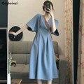 Feste Beiläufige Kurzarm Kleid Frauen V-ausschnitt Batwing Hülse A-line Drapierte Büro Damen Sommer Große Größe 4XL Ins Koreanische Stil
