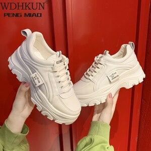 Women Chunky White Sneakers 2020 Fashion Women Platform Shoes Lace Up Vulcanize Shoes Womens Tenis Feminino Dad Shoes